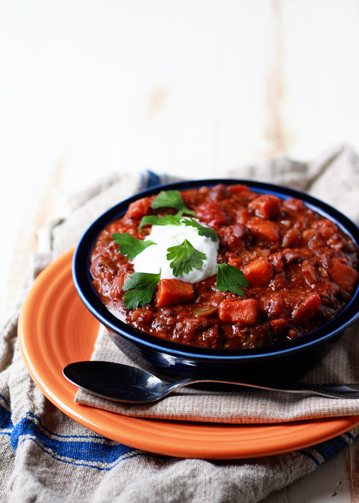 Slow Cooker Quinoa Sweet Potato Black Bean Chili A Protein Rich