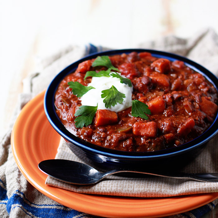 Slow Cooker Vegan Sweet Potato Quinoa Chili