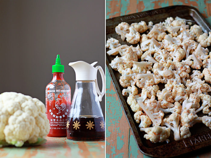 Maple-Sriracha Roasted Cauliflower recipe - Cauliflower, tossed in sweet maple syrup and spicy Sriracha, gets crispy-edged and caramelized in the oven.