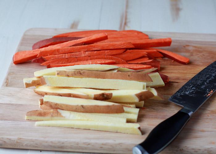 Spicy Baked Sweet Potato Fries with Cool Greek Yogurt Ranch recipe