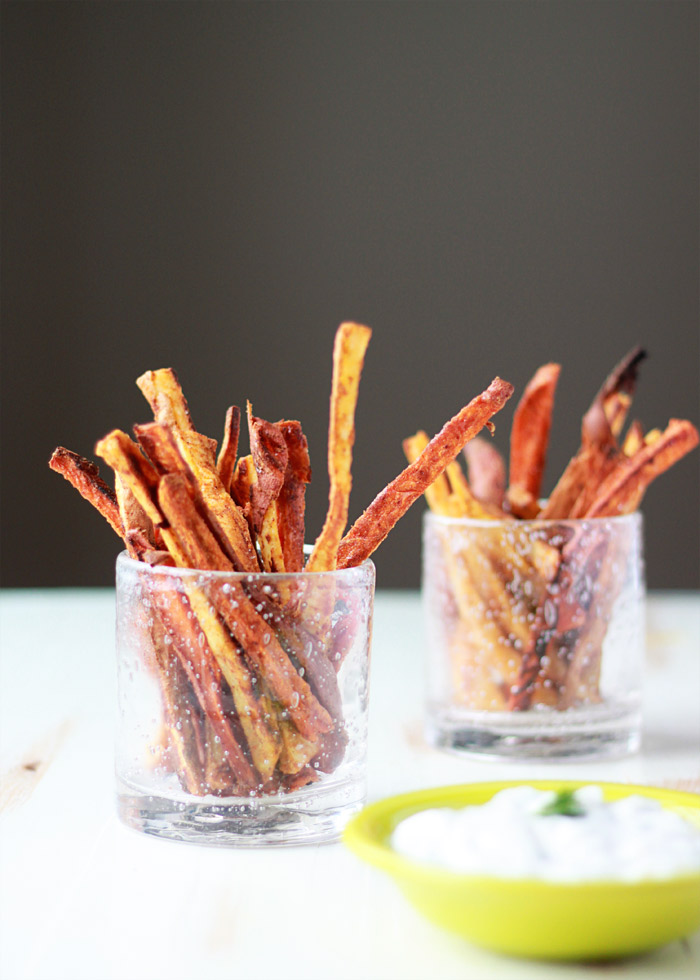 Spicy Baked Sweet Potato Fries with Cool Greek Yogurt Ranch recipe