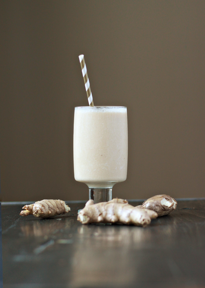 Spicy Ginger Smoothie recipe - Warning: Not for wimps! This bold smoothie can't wait to kick the crap out of your cold.