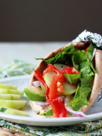 Vegan Hummus, Roasted Red Pepper, & Avocado Gyros recipe