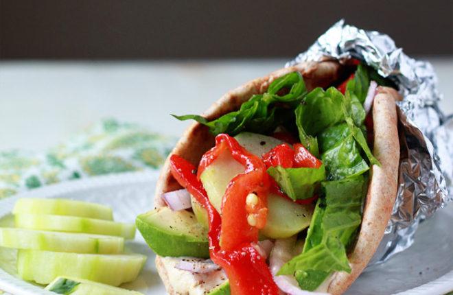 Vegan Hummus, Roasted Red Pepper, & Avocado Gyros recipe