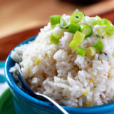 Sticky Coconut Rice with Scallions and Goodness and Light - an easy vegan rice recipe that everyone will love. Only 20 minutes and 5 ingredients to make.