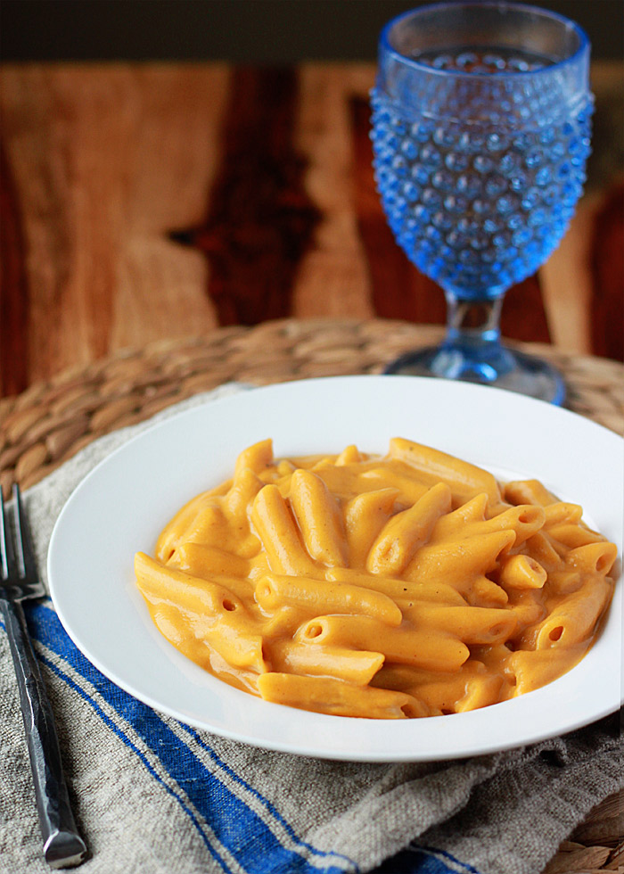 """Super Creamy Vegan Stovetop Mac and """"Cheese"""" recipe - made with sweet potatoes, butternut squash, and other mainstream real-food ingredients."""