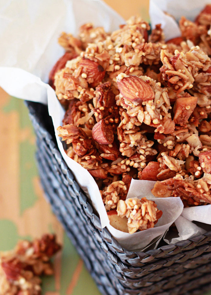 Honey Almond Quinoa Granola - Nutty, crunchy, lightly-sweetened clusters make this easy granola recipe a keeper.