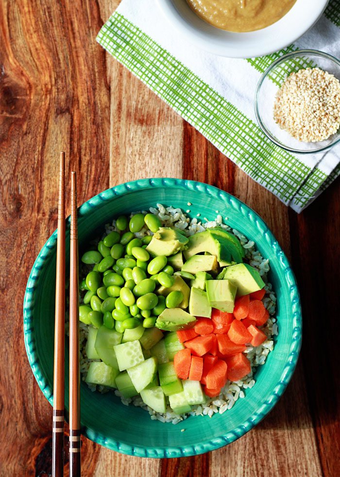 Veggie Roll Sushi Bowl with Creamy Sesame-Wasabi Dressing recipe - All the flavors of veggie sushi rolls, in the form of a tasty and satisfying grain bowl.