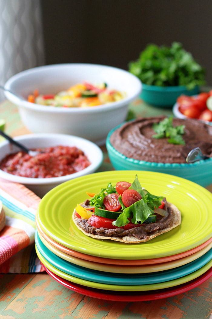 Slow Cooker Smoky Refried Black Beans + Self-Serve Tostadas