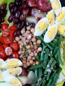 Chickpea Salad Nicoise - Chickpeas replace tuna in this vegetarian rendition of the classic French salad. This has become my favorite hearty dinner salad!