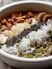 Wanna feel like you're getting to eat ice cream for breakfast? Make this Chocolate Peanut Butter Smoothie Bowl! It's refreshing, surprisingly hearty, and pretty dang healthy, too.