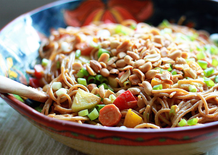 Veggie-Loaded Peanut Noodle Salad - Peanut noodles made extra creamy and bulked up with tons of veggies. We love having this vegan salad in the fridge for easy lunches and dinners!