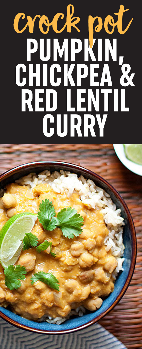 Slow cooker pumpkin chickpea red lentil curry kitchen treaty slow cooker pumpkin red lentil and chickpea curry recipe creamy hearty forumfinder Image collections