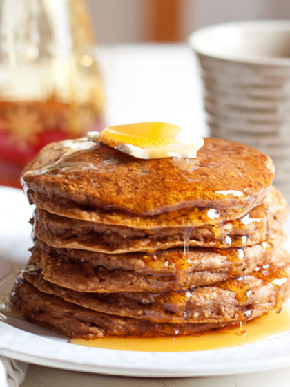 We love these Pumpkin Chia Pancakes, a healthier pumpkin pancake recipe. Fluffy, hearty, delicious. Dairy-free with vegan option!