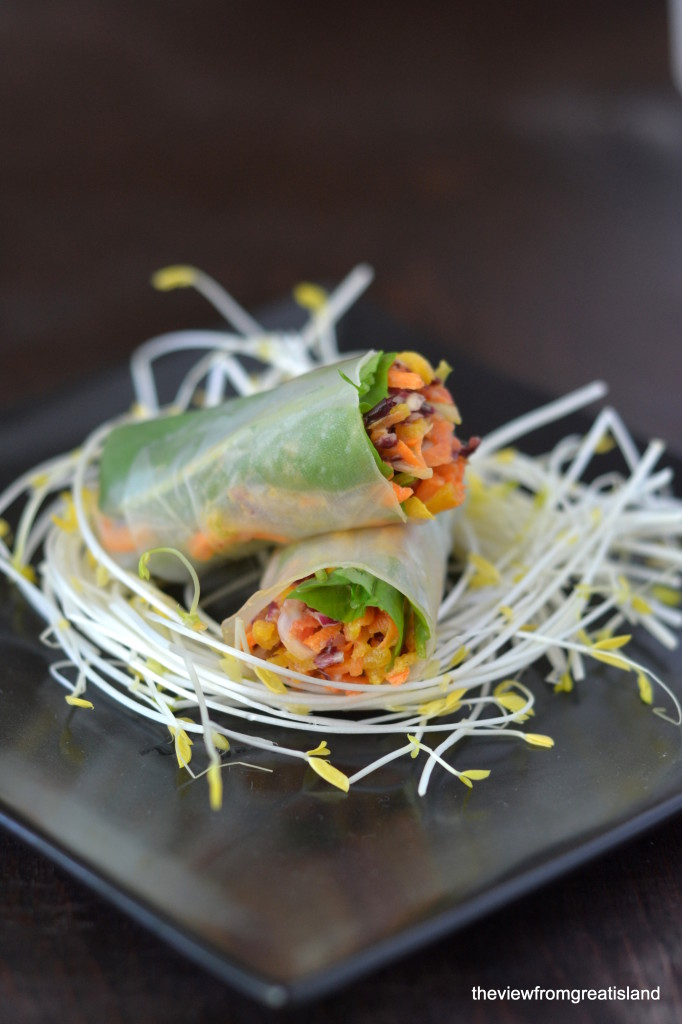 Spicy Asian Slaw Summer Rolls from @ slmoran21 is part of our 20 Quick Vegan Dinner Recipes round-up. Fast and healthy vegan meals in 20 minutes flat - or less!