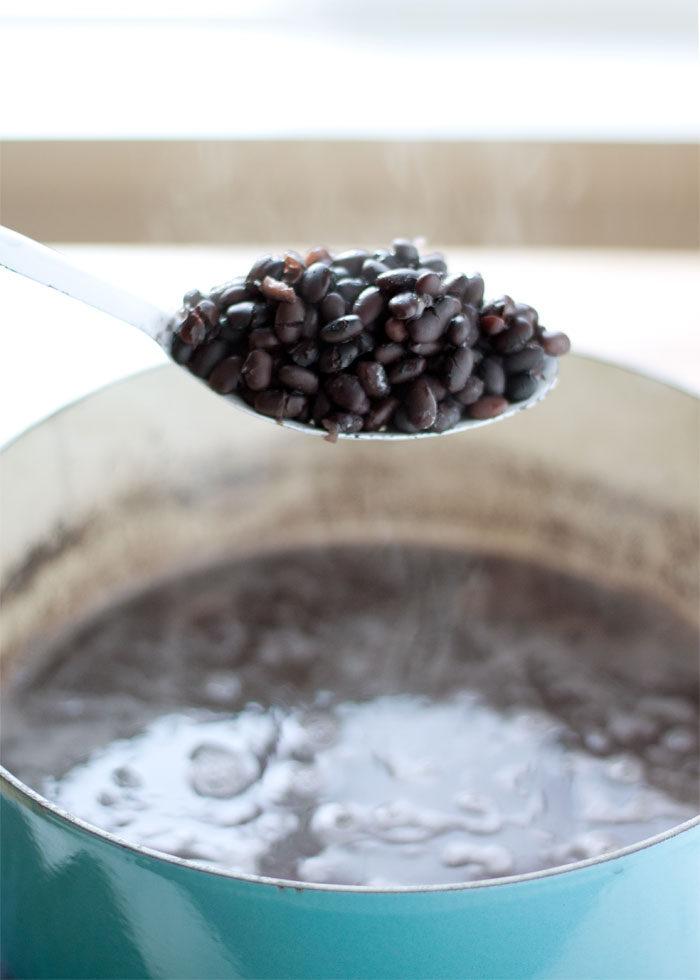 Spoonful of freshly cooked black beans