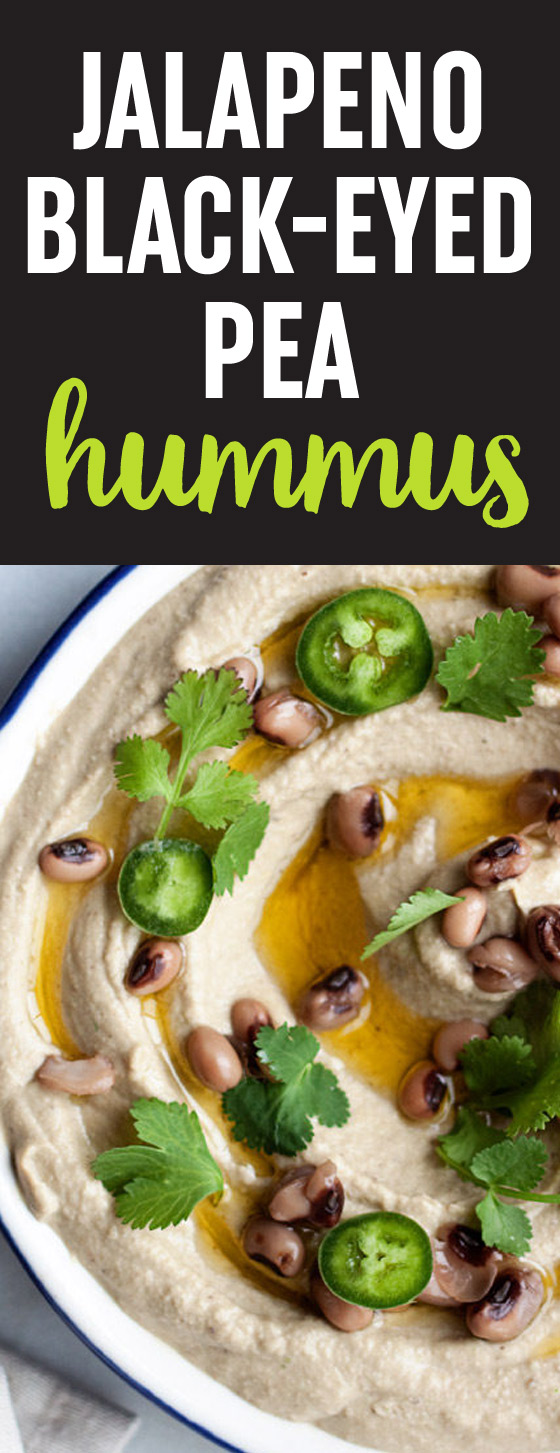 Jalapeno Black-Eyed Pea Hummus recipe - A fun twist on classic hummus, with lucky black-eyed-peas in place of the chickpeas. Spicy jalapenos add the perfect touch of heat.
