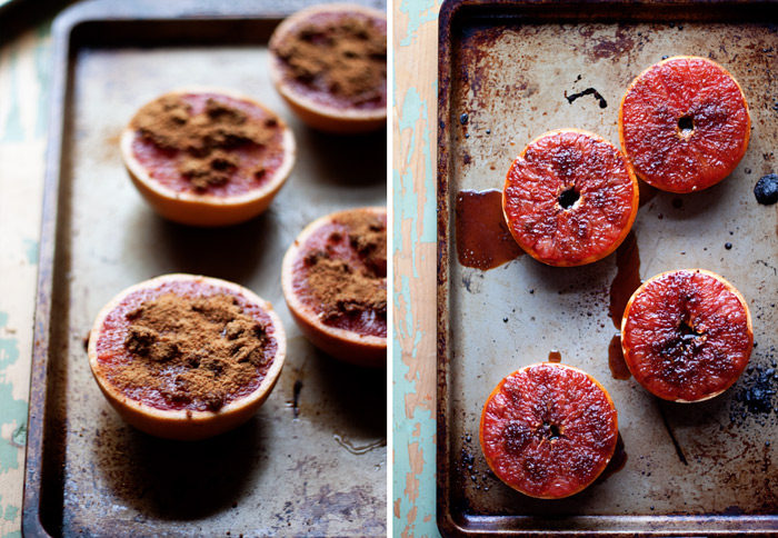 Coconut Ginger Broiled Grapefruit recipe - Fresh ginger and coconut sugar top grapefruit halves and are broiled until caramelized and brulee-esque. Top with toasted coconut to take them over the top. Perfect for a special breakfast or brunch, but also ideal as a healthy(ish) dessert!