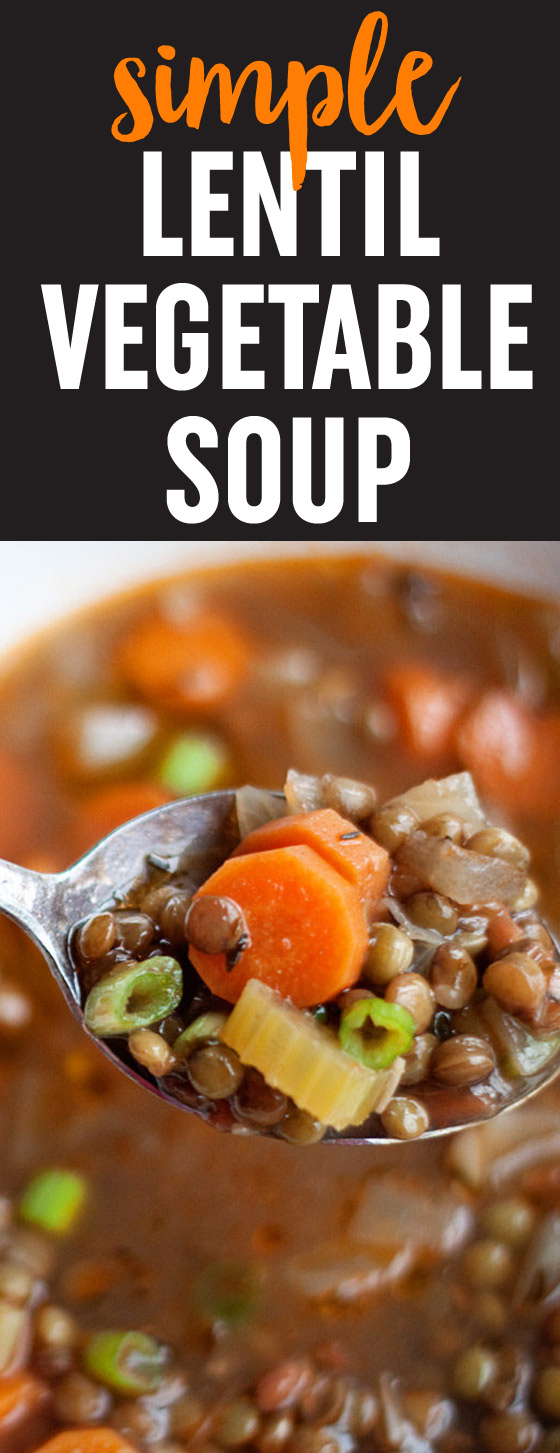 Simple Lentil Vegetable Soup recipe - This satisfying bowlful is a simpler, smaller-batch, and vegan version of Ina Garten's Lentil Vegetable Soup.