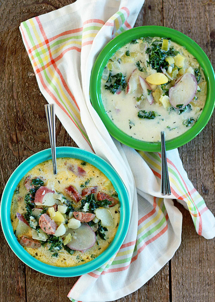 43 Recipes for Vegetarians and Meat-Eaters Eating Together - Creamy Two-Potato Soup with Kale & Optional Sausage