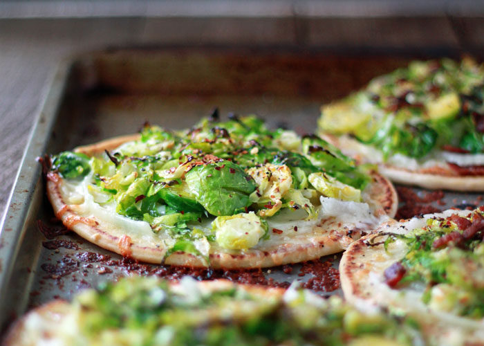43 Recipes for Vegetarians and Meat-Eaters Eating Together - Brussels Sprouts Pita Pizzas with Optional Bacon