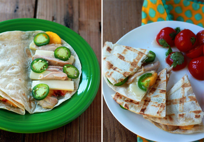 43 Recipes for Vegetarians and Meat-Eaters Eating Together - Grilled Peach Fontina Quesadillas (with optional chicken)