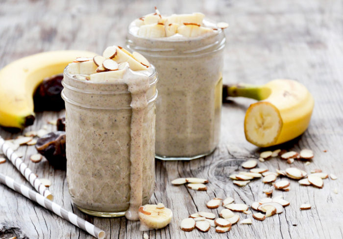23 Dairy-Free Smoothies that Taste Like Milkshakes - Roasted Banana and Almond Smoothie from Floating Kitchen