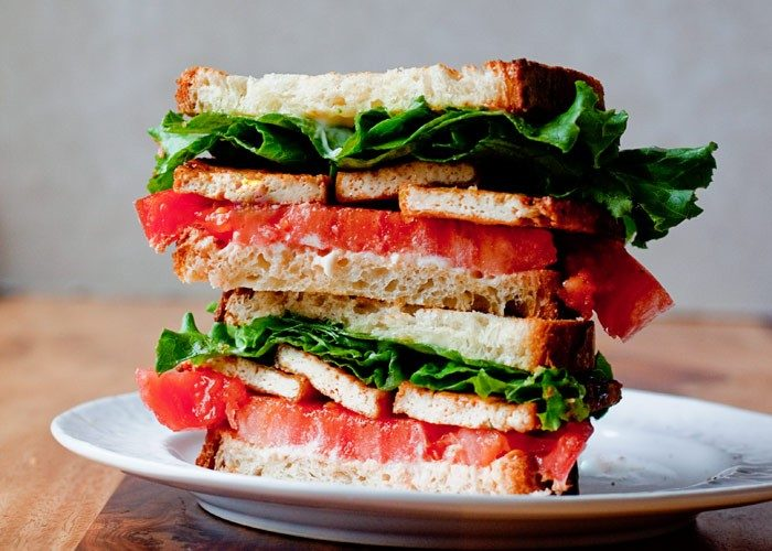 43 Recipes for Vegetarians and Meat-Eaters Eating Together - Smoky Tofu, Lettuce, and Tomato Sandwich (just make it a BLT for the meat-eaters)