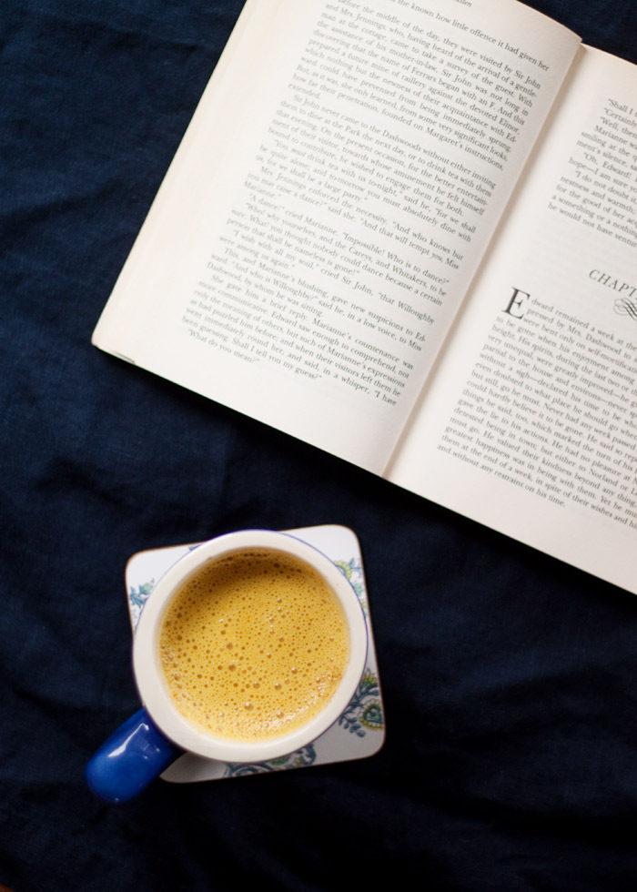Golden milk latte and a good book