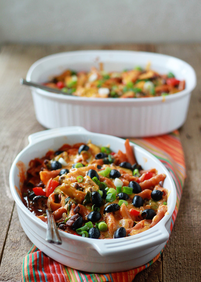 veggie-filled-enchilada-pasta-bake-with-optional-ground-beef