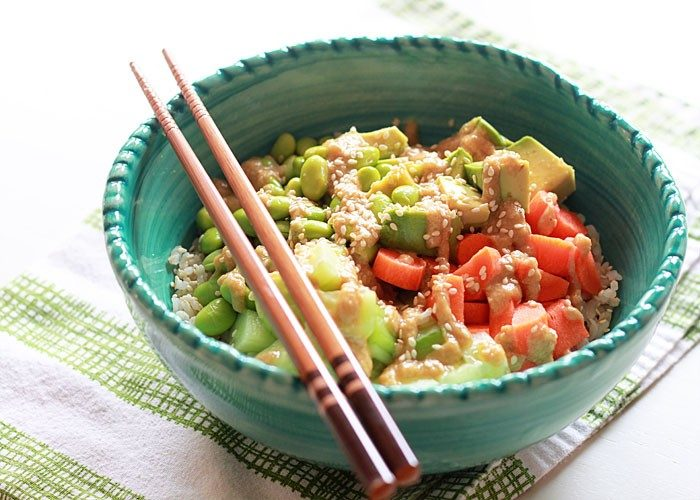 43 Recipes for Vegetarians and Meat-Eaters Eating Together - Veggie Roll Sushi Bowl with Sesame-Wasabi Dressing