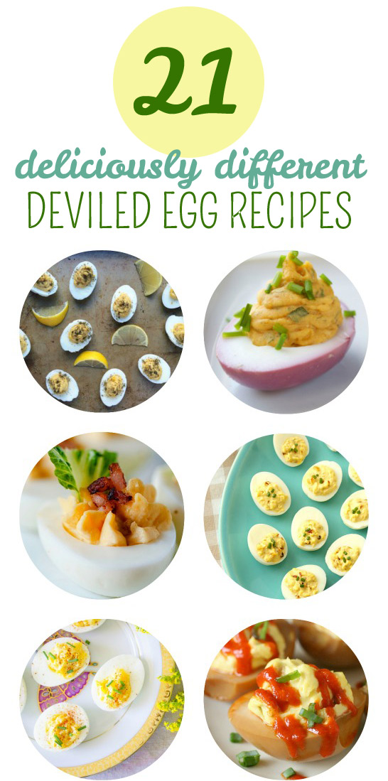 21 Deliciously Different Deviled Egg Recipes - Curried, BLT, Caesar, buffalo, pesto, Sriracha ... so many ideas!