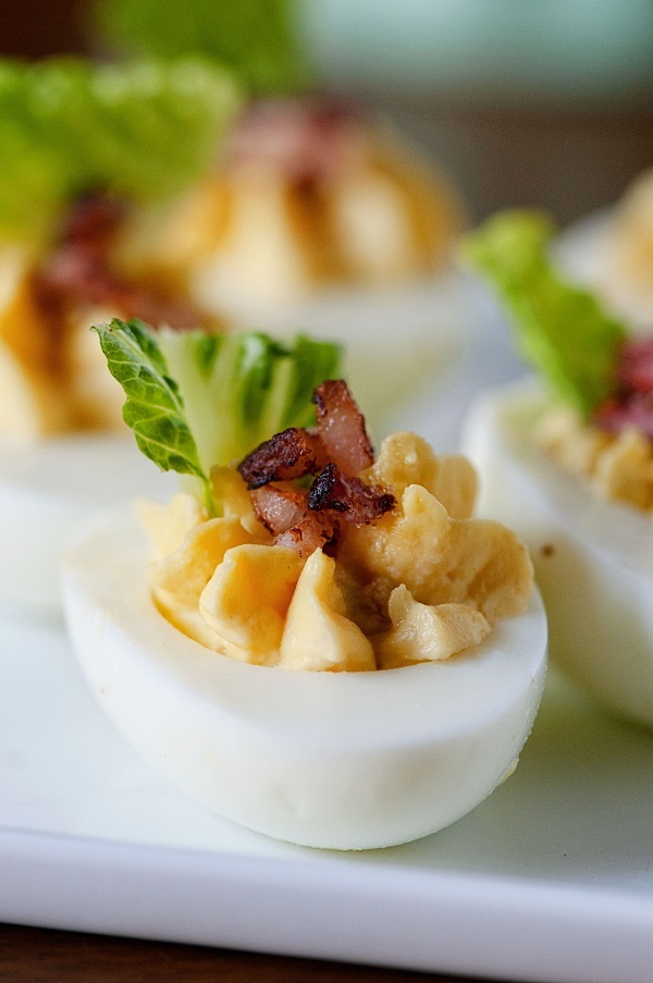Bacon Caesar Salad Deviled Eggs from Culinary Concoctions by Peabody - One of 21 deliciously different deviled egg recipes (take a look for more unique deviled eggs!)