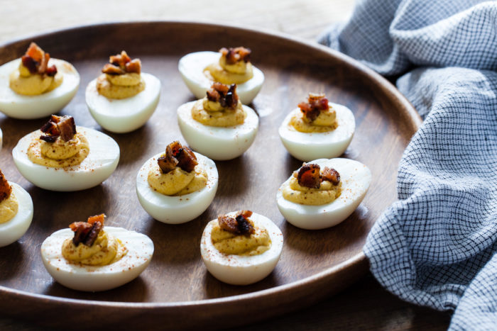 Butternut Squash & Bacon Deviled Eggs from Snixy Kitchen - One of 21 deliciously different deviled egg recipes (take a look for more unique deviled eggs!)