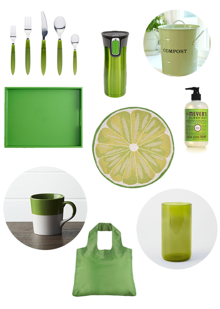 {I Love} Green Kitchen Things - Kelly, shamrock, emerald, lime ... pops of green in the kitchen make it feel fresh, lively, and bright.
