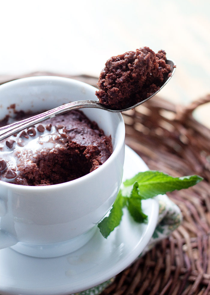 Double Chocolate Mint Mug Cake recipe - This uber-chocolatey mug cake just happens to be vegan, but everyone is sure to appreciate this decadent and tender little splurge.