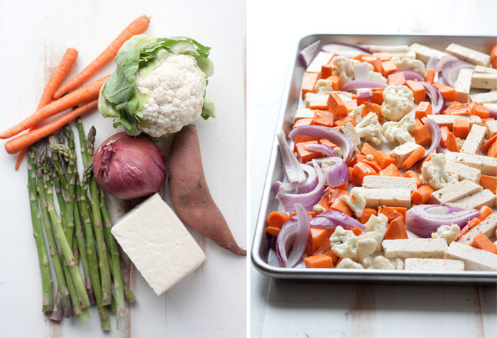 Sheet Pan Tofu & Veggie Dinner recipe - A super-simple one-pan vegan dinner recipe! Roasted veggies, protein-rich tofu - so convenient and easy.