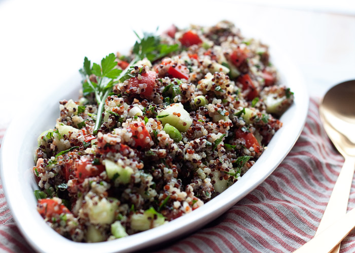 Quinoa Tabbouleh recipe - An easy, refreshing, satisfying salad that's perfect grab-and-go fridge fare. I love this one for potlucks - it's vegan and gluten-free, so it works for most everyone.