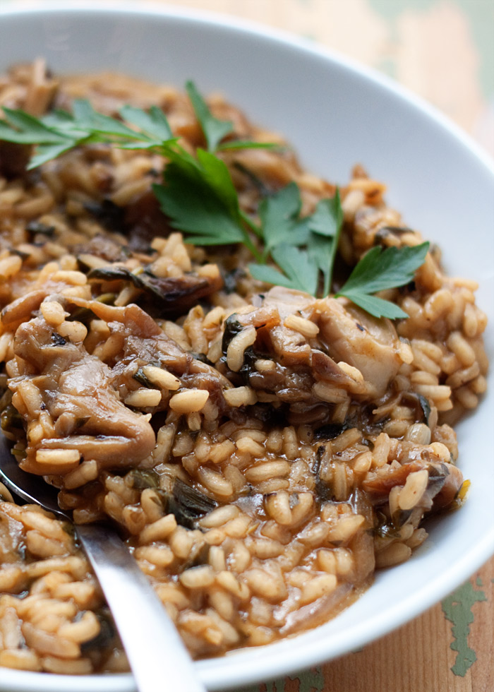 Spinach and Herb Risotto with Oyster Mushrooms - Special-occasion-worthy risotto, three different ways. Vegan, vegetarian, or meaty - no matter which way you choose, this risotto is packed with flavor.