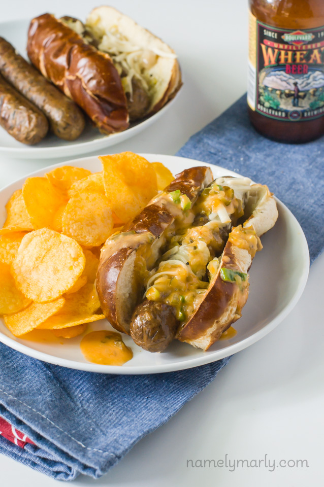 15 Vegan Dinners for the Grill - like these Vegan Reuben Brats with Special Sauce from @namelymarly