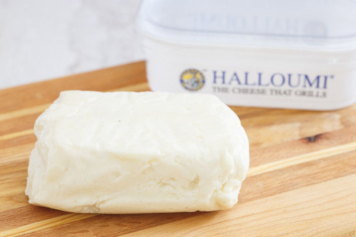 A block of halloumi cheese