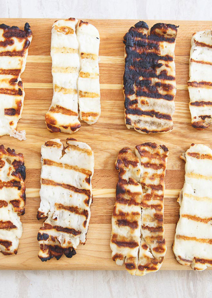Slices of grilled halloumi cheese