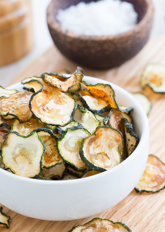 Salt & Pepper Baked Zucchini Chips recipe - A sharp knife and steady hand along with some patience is really all it takes for crispy oven-baked zucchini chips.