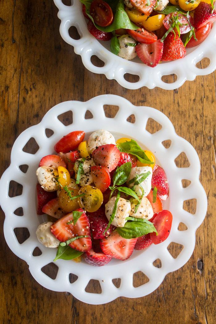 Strawberry Caprese Salad recipe - make caprese even more special with a strawberry surprise. (vegetarian)