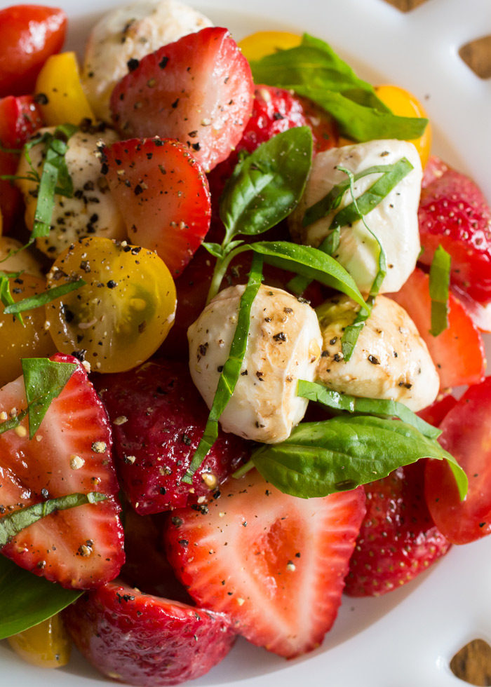 Strawberry Caprese Salad recipe - make caprese even more special with a strawberry surprise. (vegetarian)