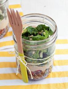 Mason Jar Tabbouleh Hummus Salad