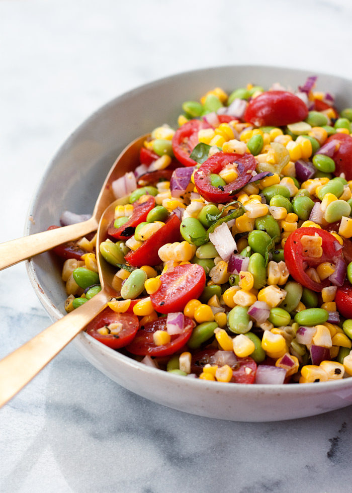 Summer Corn & Edamame Succotash Salad recipe - A super simple summer salad with the sweet crunch of corn, juicy tomatoes, and the protein-punch of edamame. {vegan, gluten-free}