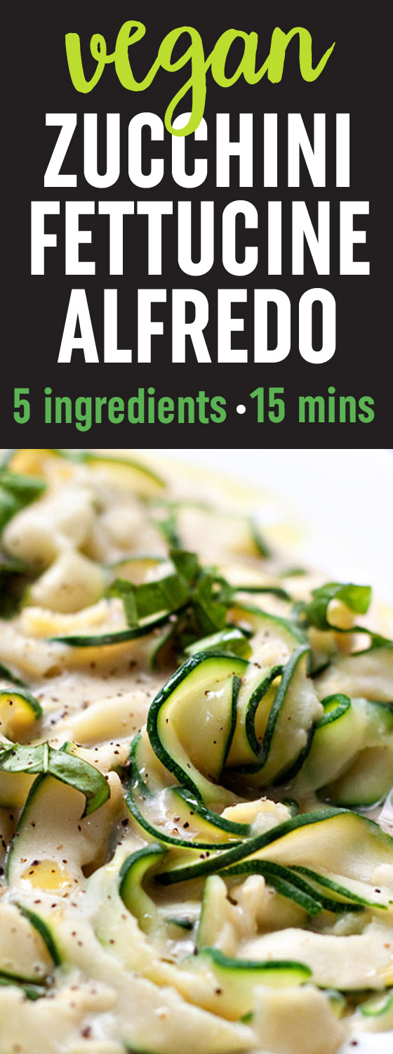 "Zucchini Fettuccine with Creamy White Bean ""Alfredo"" Sauce recipe - A revelation! The rich and creamy sauce - made with only white beans, garlic, almond milk, a drizzle of olive oil plus salt and pepper - perfectly coats tender-to-the-bite zucchini ribbons. Only 5 ingredients and 15 minutes for this hearty and healthy gluten-free and vegan dinner."