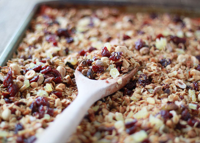 65 Homemade Granola Recipes, like this Granola with Hazelnuts, Pistachios, Dried Cherry, and Candied Ginger