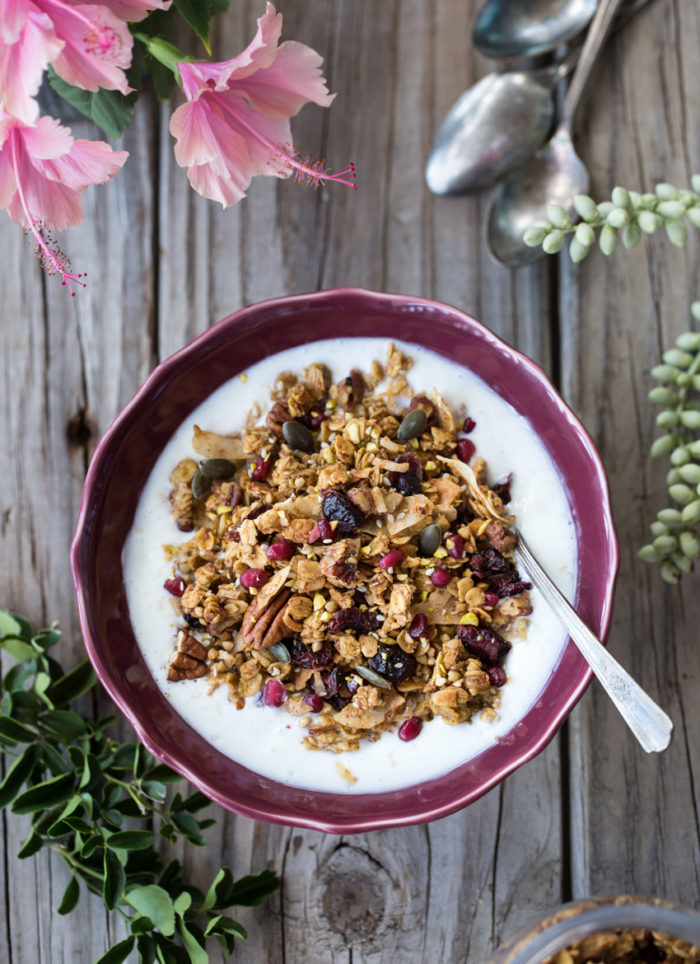 65 Homemade Granola Recipes, like this Spicy Pumpkin, Maple, and Tahini Granola from Foolproof Living
